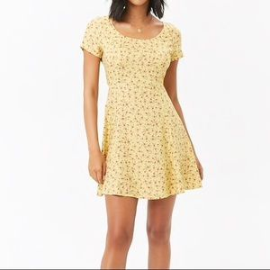 Forever 21 Yellow Rose Print Minidress